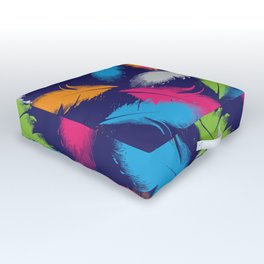 Bright Falling Feathers Outdoor Floor Cushion