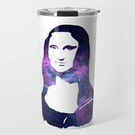 Mona Lisa Galactic Smile. Pantone Color of 2018: Ultra Violet Travel Mug