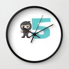 Birthday Ninja Party 5th Samurai Ninjas Gift Japanese Ninja stars Fighter Gift Wall Clock