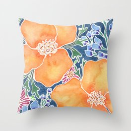 Masked Flora Collection Poppies Throw Pillow