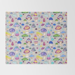 Watercolor Mushroom Pattern on Gray Throw Blanket
