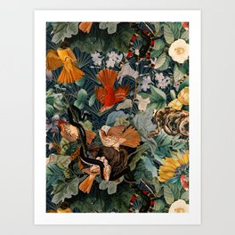 Birds and snakes Art Print
