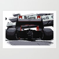 f1 Art Prints featuring Mclaren F1 MP4-4 by SABIRO DESIGN