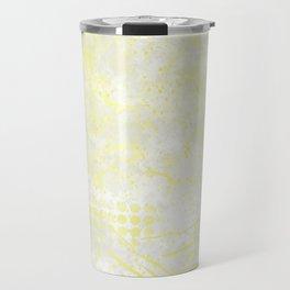 Abstract Overlay-Yellow,Gray and White Travel Mug