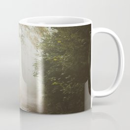 into the white grain unknown (foggy forest pathway) Coffee Mug