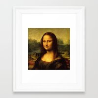 mona lisa Framed Art Prints featuring Mona Lisa by Color and Patterns