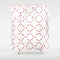 moroccan Shower Curtains featuring Moroccan Coral by Jenna Mhairi