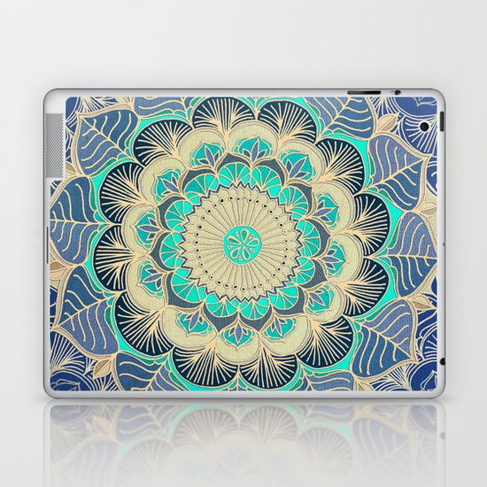 Midnight Bloom - detailed floral doodle in gold, navy blue & mint Laptop & iPad Skin
