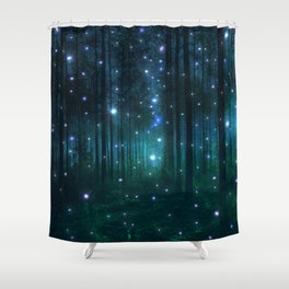 Glowing Space Woods Shower Curtain