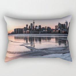 Winter Skyline from Toronto's Polson Pier Rectangular Pillow
