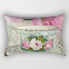 Hand Painted China Tea Cup and Roses Rectangular Pillow