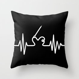 Sewing heartbeat Throw Pillow