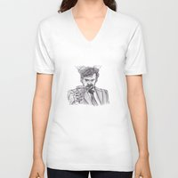 murray V-neck T-shirts featuring Murray (Prince of Parties) by jamestomgray