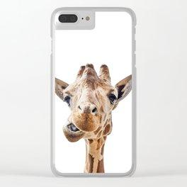 Funny Giraffe Portrait Art Print, Cute Animals, Safari Animal Nursery, Kids Room Poster Clear iPhone Case