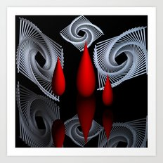 red white black -18- Art Print