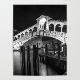 VENICE Rialto Bridge at Night | Monochrome Poster