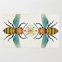 bee Area & Throw Rugs featuring bee by Manoou