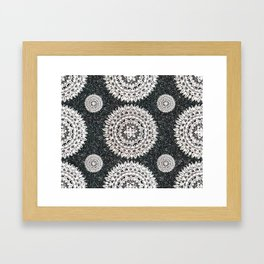 Black Glitter and Silver Mandala Textile Piece Framed Art Print