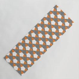 Gray Orange Geometrical Pattern Yoga Mat
