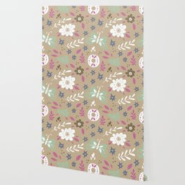 Flowers and butterflies In Brown Pattern Wallpaper