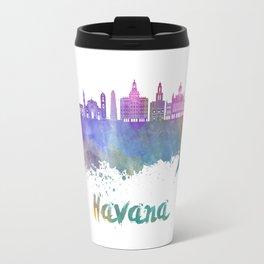 Havana V2 skyline in watercolor Travel Mug