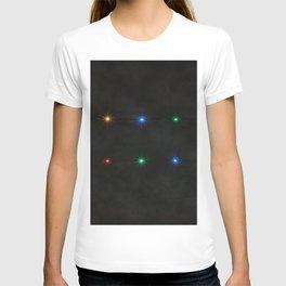 Decorative String Lights On Black Background T-shirt