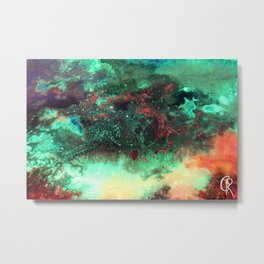 """""""Titan"""" Mixed media on canvas, abstract painting design, contemporary artist green red black yellow Metal Print"""