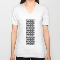 damask V-neck T-shirts featuring Black Damask  by Elena Indolfi