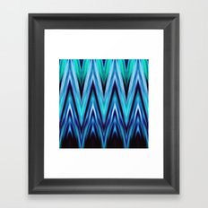 Abstract Blue Teal Zigzags Framed Art Print