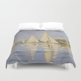 Claude Monet Regattas at Argenteuil Duvet Cover