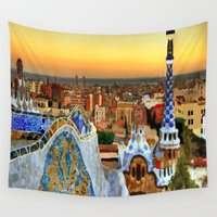 barcelona Wall Tapestries featuring Barcelona by Darla Designs