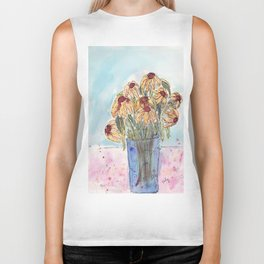 Wilted Flowers in Glass Jar Biker Tank