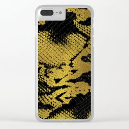 Faux Gold Leather Snake Skin Clear iPhone Case