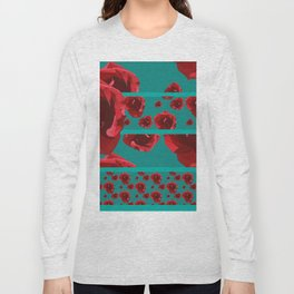 Lowpoly Rose - Teal and red Long Sleeve T-shirt