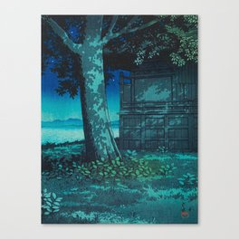 Kawase Hasui Vintage Japanese Woodblock Print Moonlight Shadows Under A Tall Tree Wooden Shrine Canvas Print