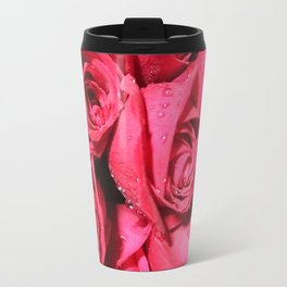 Dark Pink Roses Travel Mug