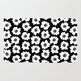 Linocut botanical nature floral flower art nursery black and white decor newborn Rug