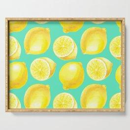 Watercolor lemons pattern Serving Tray