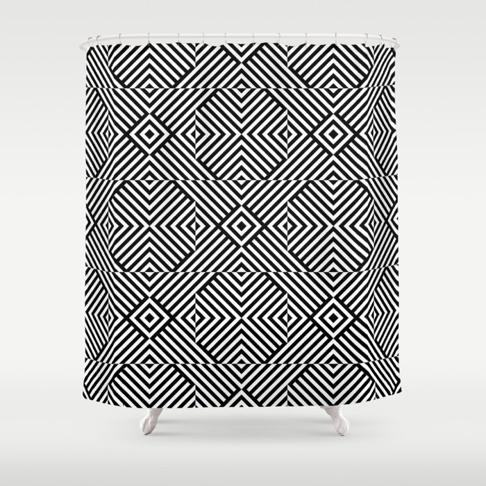 Black white pattern with lines and squares Shower Curtain