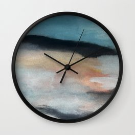 Dawn: a minimal abstract acrylic piece in pink, blues, yellow, and white Wall Clock