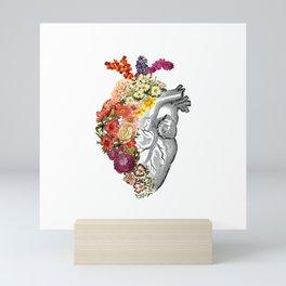 Flower Heart Spring White Mini Art Print