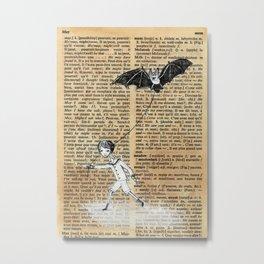 Boy Walking Pet Bat Metal Print