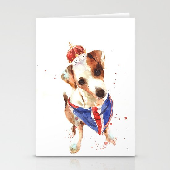 LONDON - Jack Russell Art - Union Jack Stationery Cards