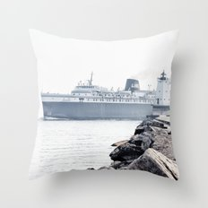 Badger Car Ferry - Ludington Michigan Throw Pillow