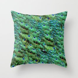 Peacock Feather Waterfall Throw Pillow