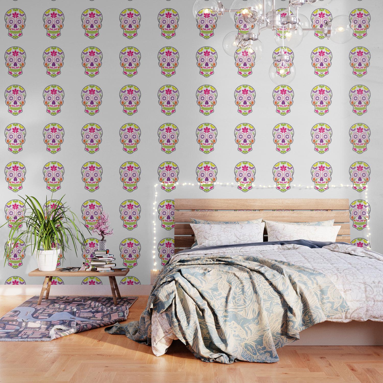 Calavera Sugar Skull Day Of The Dead Floral Skull Wallpaper By