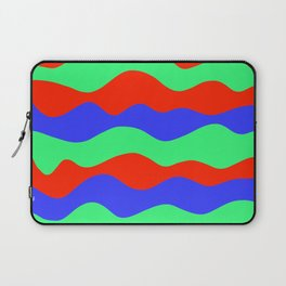 Retro abstract red, green and blue wavy decorative pattern graphic design. Gift ideas. Home decor. Laptop Sleeve
