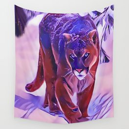 Mountain Lion Hunting in The Snow Wall Tapestry