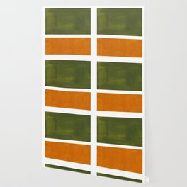 Olive Green Yellow Ochre Minimalist Abstract Colorful Midcentury Pop Art Rothko Color Field Wallpaper