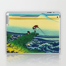 Vintage Japanese Art - Man Fishing Laptop & iPad Skin